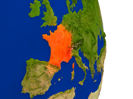 republique: Map of France in red on planet Earth. 3D illustration with detailed planet surface.