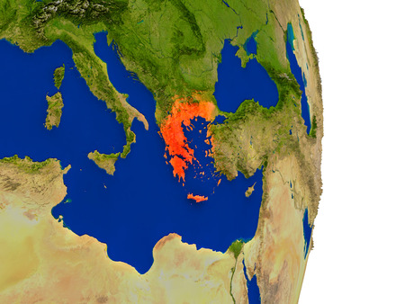 Map of Greece in red on planet Earth. 3D illustration with detailed planet surface. Stock Photo