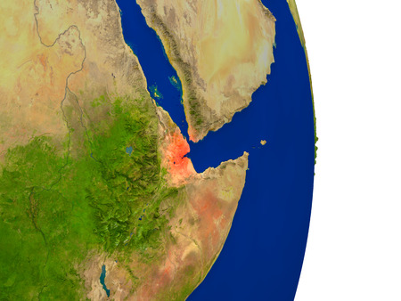 djibouti: Map of Djibouti in red on planet Earth. 3D illustration with detailed planet surface.