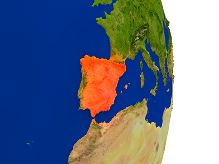 Map of Spain in red on planet Earth. 3D illustration with detailed planet surface.