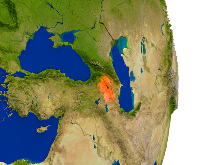 armenian: Map of Armenia in red on planet Earth. 3D illustration with detailed planet surface. Stock Photo