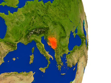 Map of Bosnia in red on planet Earth. 3D illustration with detailed planet surface.