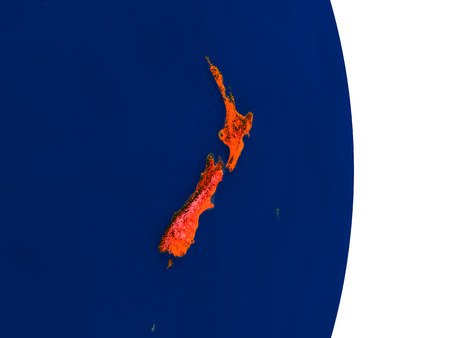 aotearoa: Map of New Zealand in red on planet Earth. 3D illustration with detailed planet surface.