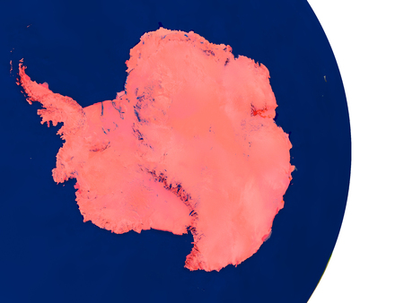 antarctica: Map of Antarctica in red on planet Earth. 3D illustration with detailed planet surface.