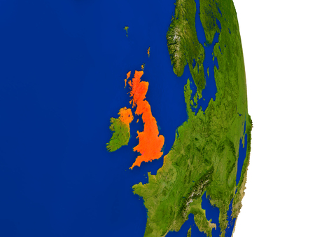Map of United Kingdom in red on planet Earth. 3D illustration with detailed planet surface.