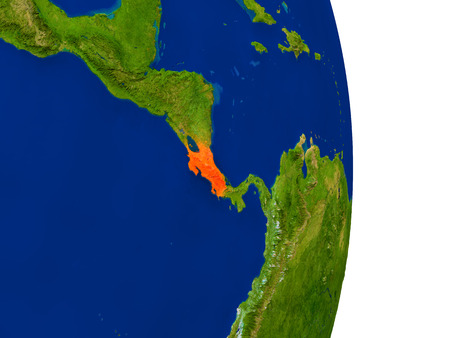 Map of Costa Rica in red on planet Earth. 3D illustration with detailed planet surface.