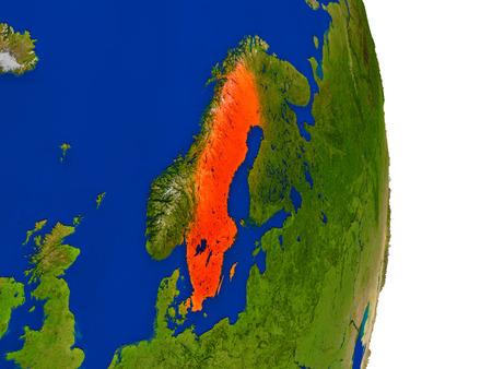 sverige: Map of Sweden in red on planet Earth. 3D illustration with detailed planet surface. Stock Photo