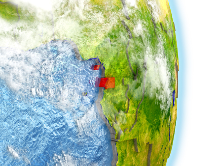 Equatorial Guinea in red on model of planet Earth. 3D illustration with highly detailed realistic planet surface and clouds. Stock Photo