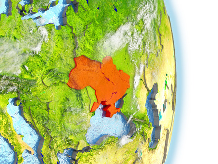 Ukraine in red on model of planet Earth. 3D illustration with highly detailed realistic planet surface and clouds.