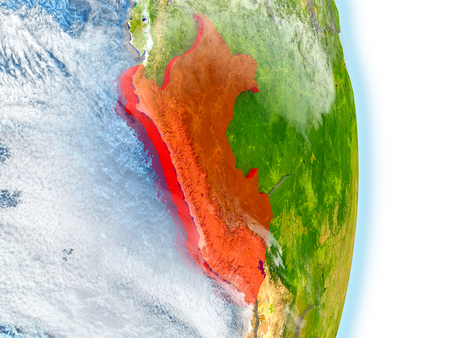 republic of peru: Peru in red on model of planet Earth. 3D illustration with highly detailed realistic planet surface and clouds