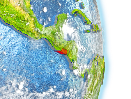 El Salvador in red on model of planet Earth. 3D illustration with highly detailed realistic planet surface and clouds.