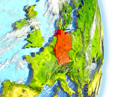 Germany in red on model of planet Earth. 3D illustration with highly detailed realistic planet surface and clouds.