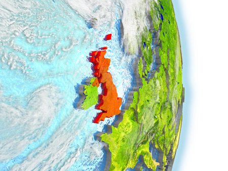 United Kingdom in red on model of planet Earth. 3D illustration with highly detailed realistic planet surface and clouds. Stock Photo