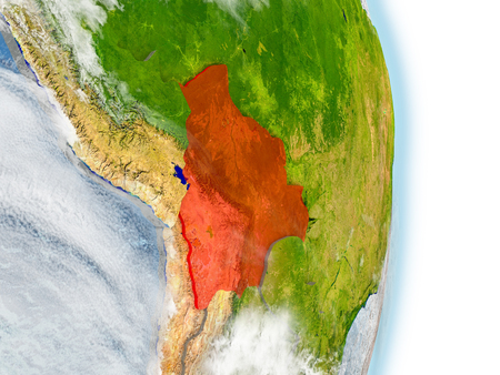 map bolivia: Bolivia in red on model of planet Earth. 3D illustration with highly detailed realistic planet surface and clouds.