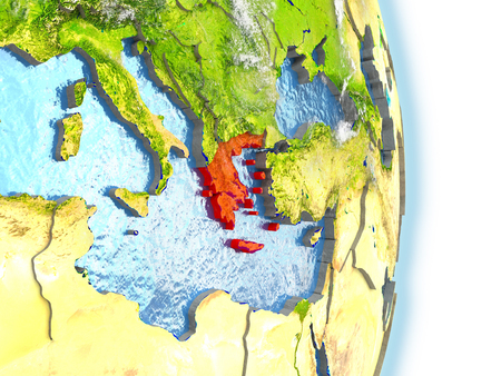 Greece in red on model of planet Earth. 3D illustration with highly detailed realistic planet surface and clouds.