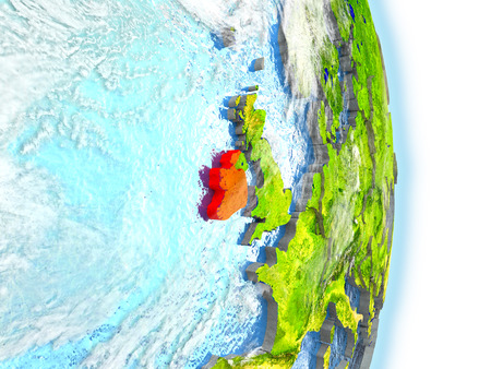 Ireland in red on model of planet Earth. 3D illustration with highly detailed realistic planet surface and clouds.