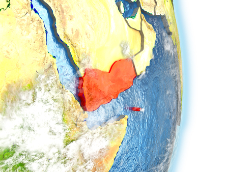 yemen: Yemen in red on model of planet Earth. 3D illustration with highly detailed realistic planet surface and clouds. Elements of this image furnished by NASA. Stock Photo