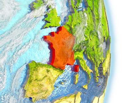 republique: France in red on model of planet Earth. 3D illustration with highly detailed realistic planet surface and clouds. Stock Photo