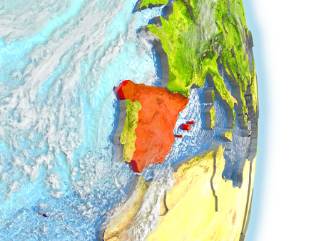 spaniard: Spain in red on model of planet Earth. 3D illustration with highly detailed realistic planet surface and clouds. Stock Photo