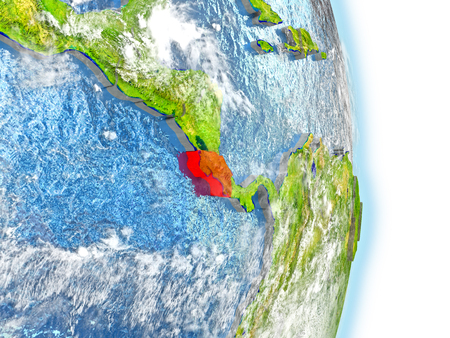 Costa Rica in red on model of planet Earth. 3D illustration with highly detailed realistic planet surface and clouds.