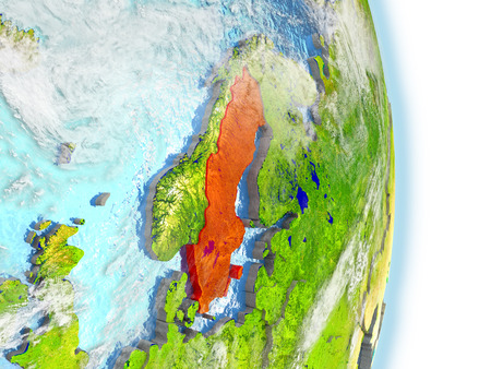 Sweden in red on model of planet Earth. 3D illustration with highly detailed realistic planet surface and clouds.