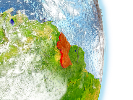 Guyana in red on model of planet Earth. 3D illustration with highly detailed realistic planet surface and clouds. Stock Photo