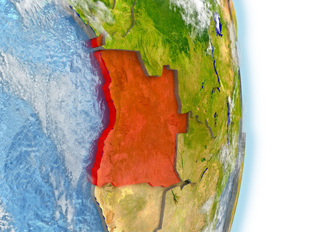 Angola in red on model of planet Earth. 3D illustration with highly detailed realistic planet surface and clouds.