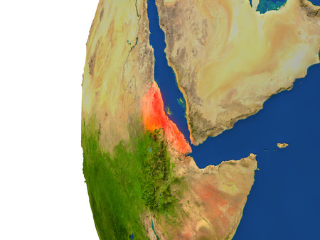 Eritrea on planet Earth. 3D illustration with detailed realistic planet surface. Stock Photo
