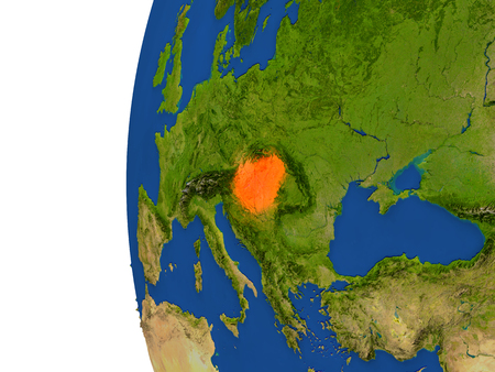 magyar: Hungary on planet Earth. 3D illustration with detailed realistic planet surface. Stock Photo
