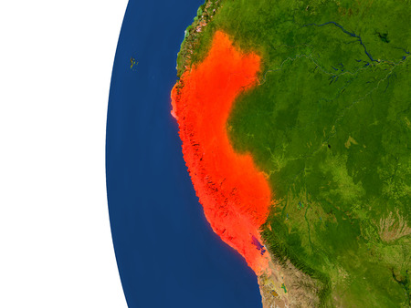 republic of peru: Peru on planet Earth. 3D illustration with detailed realistic planet surface.