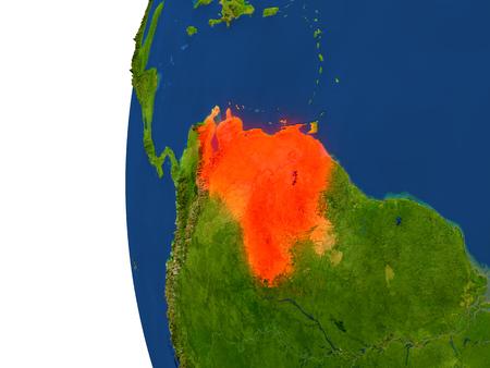 Venezuela en el planeta Tierra. Ilustración 3D con superficie de planeta realista detallada. Foto de archivo