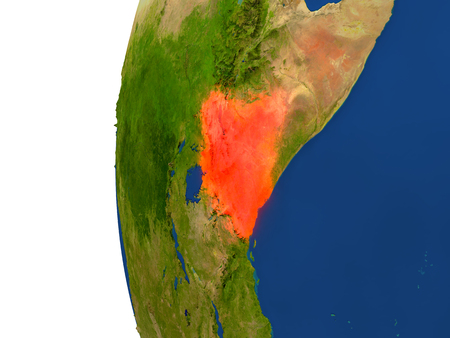 Kenya on planet Earth. 3D illustration with detailed realistic planet surface. Stock Photo