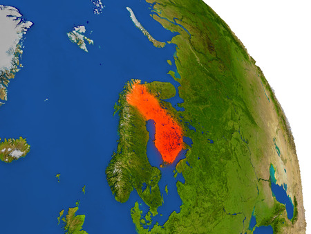 suomi: Map of Finland with surrounding region on planet Earth. 3D illustration with highly detailed planet surface. Stock Photo