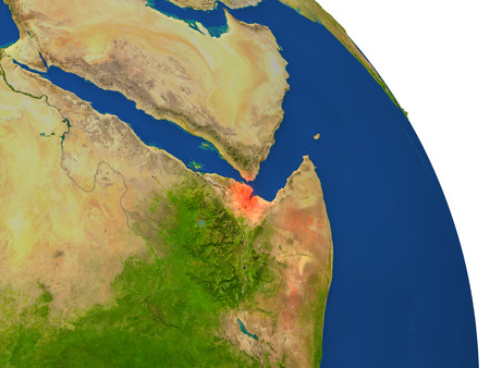 Map of Djibouti with surrounding region on planet Earth. 3D illustration with highly detailed planet surface.