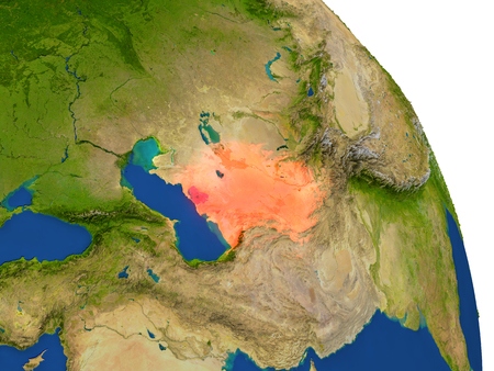 turkmenistan: Map of Turkmenistan with surrounding region on planet Earth. 3D illustration with highly detailed planet surface.