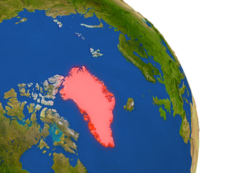 Map of Greenland with surrounding region on planet Earth. 3D illustration with highly detailed planet surface.