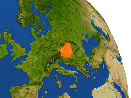 magyar: Map of Hungary with surrounding region on planet Earth. 3D illustration with highly detailed planet surface.