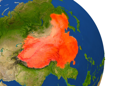 people's republic of china: Map of China with surrounding region on planet Earth. 3D illustration with highly detailed planet surface.