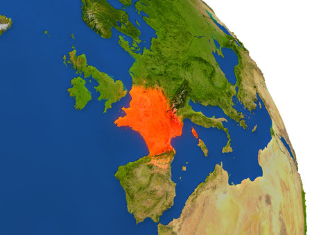 francaise: Map of France with surrounding region on planet Earth. 3D illustration with highly detailed planet surface.