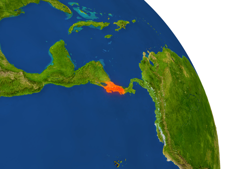 Map of Costa Rica with surrounding region on planet Earth. 3D illustration with highly detailed planet surface.