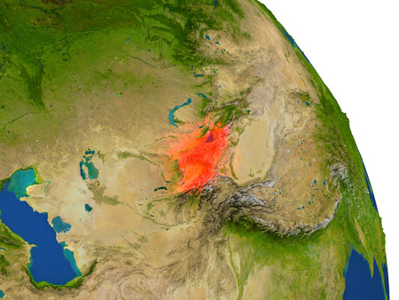 Map of Kyrgyzstan with surrounding region on planet Earth. 3D illustration with highly detailed planet surface.