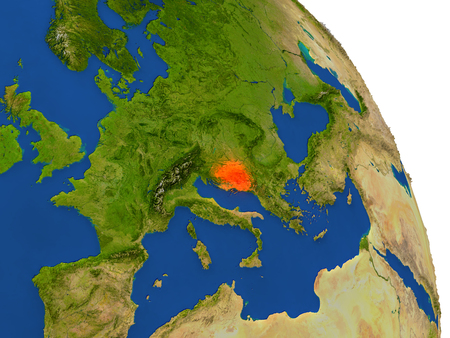 Map of Bosnia with surrounding region on planet Earth. 3D illustration with highly detailed planet surface. Stock Photo