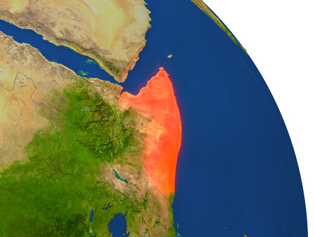 Map of Somalia with surrounding region on planet Earth. 3D illustration with highly detailed planet surface. Stock Photo