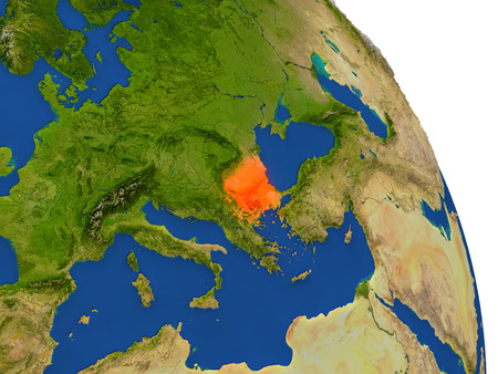 Map of Bulgaria with surrounding region on planet Earth. 3D illustration with highly detailed planet surface.