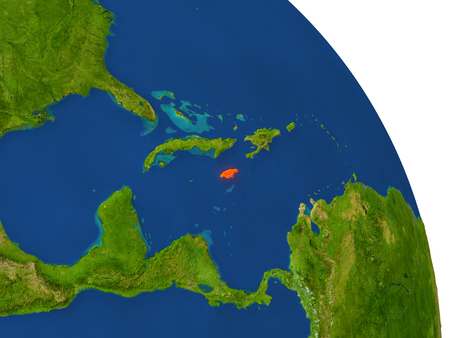 jamaican: Map of Jamaica with surrounding region on planet Earth. 3D illustration with highly detailed planet surface. Stock Photo