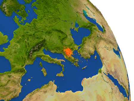 Map of Macedonia with surrounding region on planet Earth. 3D illustration with highly detailed planet surface.