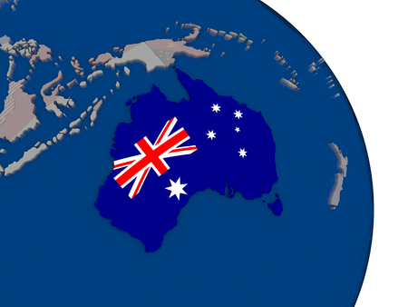 Australia with embedded national flag on globe. Highly detailed 3D illustration with accurate flag colors and country borders