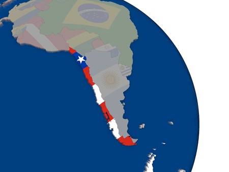 Chile with embedded national flag on globe. Highly detailed 3D illustration with accurate flag colors and country borders Stock Photo