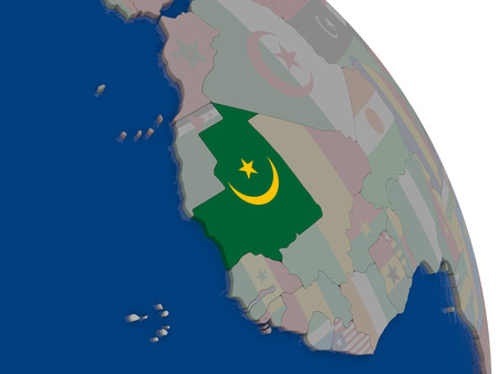 mauritania: Mauritania with embedded national flag on globe. Highly detailed 3D illustration with accurate flag colors and country borders Stock Photo