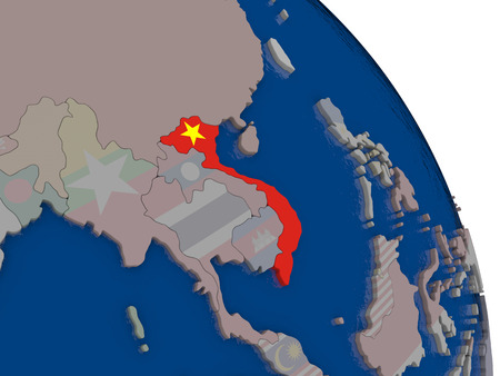 Vietnam with embedded national flag on globe. Highly detailed 3D illustration with accurate flag colors and country borders